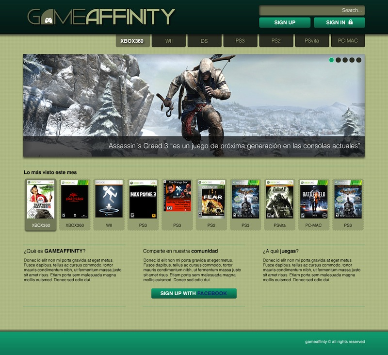 01 - GameAffinity Homepage Draft