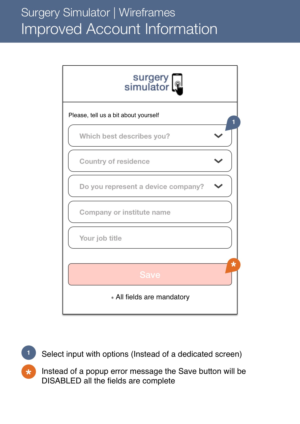 Surgery Simulator app - Wireframes 4