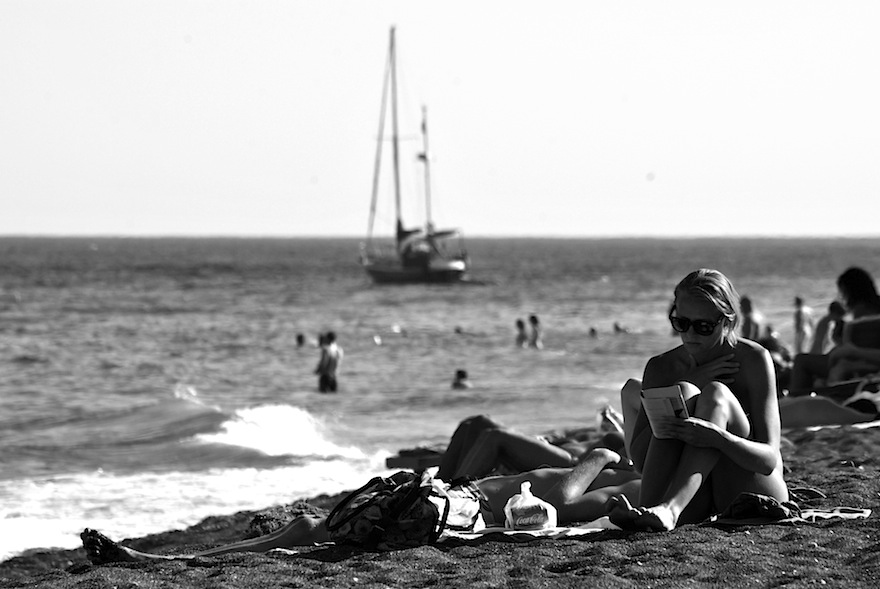 2011 - Girl reading on the beach - Perissa, Greece