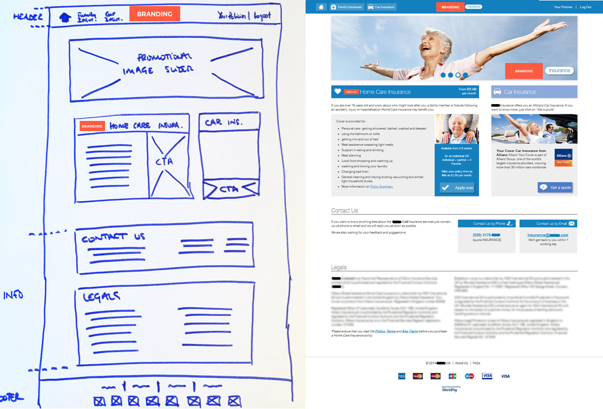 Company Y Insurance - New website - Wireframe