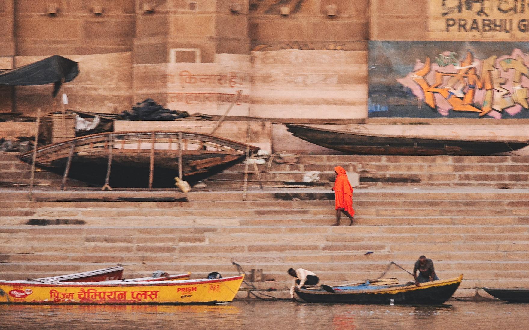 Man unfocused in orange shirt – Varanasi, India